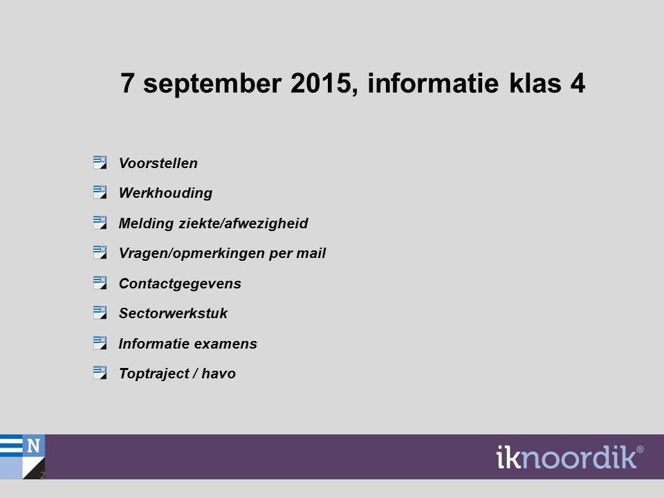 2 7 september 2015, informatie klas 4 Voorstellen Werkhouding Melding ziekte/afwezigheid Vragen/opmerkingen per mail Contactgegevens Sectorwerkstuk In