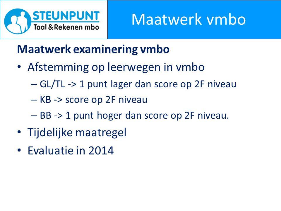 Maatwerk vmbo Maatwerk examinering vmbo Afstemming op leerwegen in vmbo – GL/TL -> 1 punt lager dan score op 2F niveau – KB -> score op 2F niveau – BB -> 1 punt hoger dan score op 2F niveau.