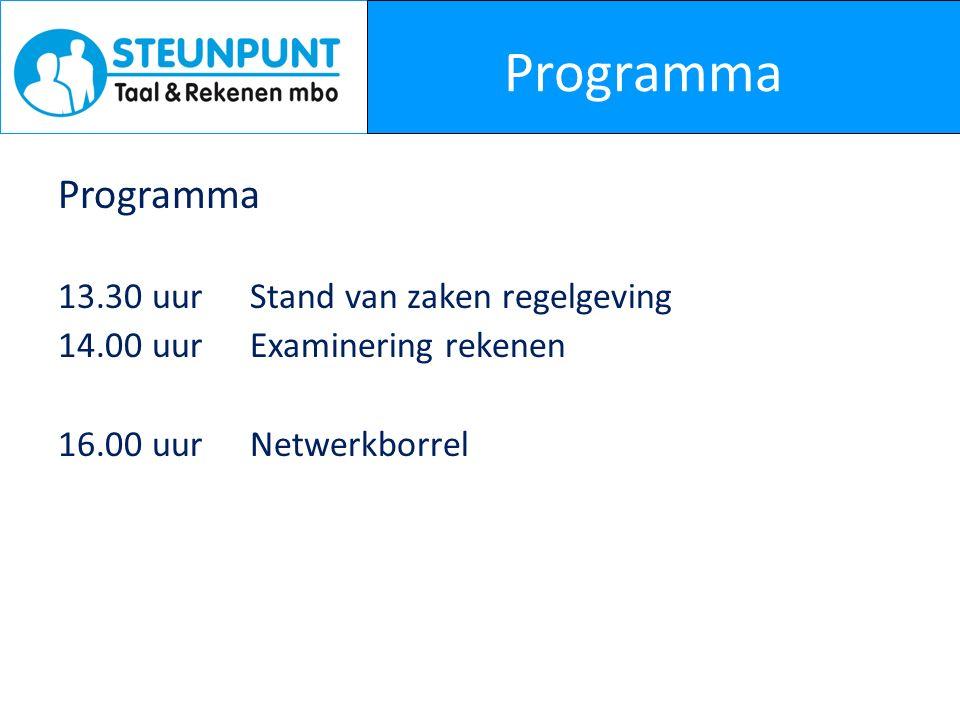Programma 13.30 uurStand van zaken regelgeving 14.00 uurExaminering rekenen 16.00 uurNetwerkborrel
