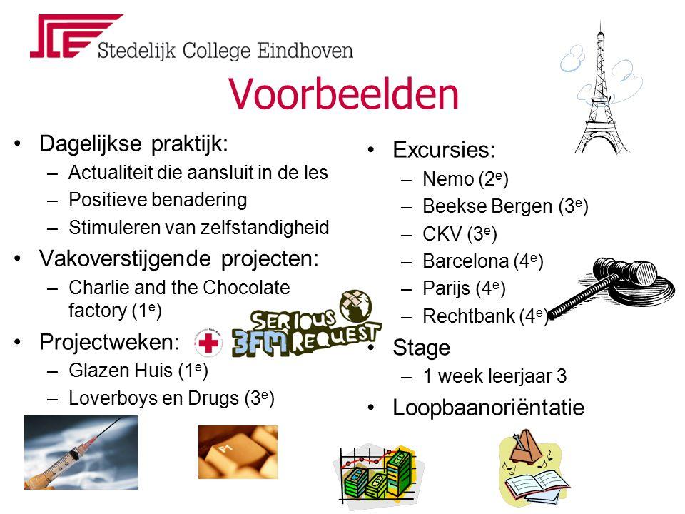 Voorbeelden Dagelijkse praktijk: –Actualiteit die aansluit in de les –Positieve benadering –Stimuleren van zelfstandigheid Vakoverstijgende projecten: –Charlie and the Chocolate factory (1 e ) Projectweken: –Glazen Huis (1 e ) –Loverboys en Drugs (3 e ) Excursies: –Nemo (2 e ) –Beekse Bergen (3 e ) –CKV (3 e ) –Barcelona (4 e ) –Parijs (4 e ) –Rechtbank (4 e ) Stage –1 week leerjaar 3 Loopbaanoriëntatie
