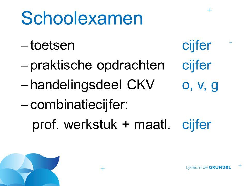 Schoolexamen ‒ toetsencijfer ‒ praktische opdrachtencijfer ‒ handelingsdeel CKVo, v, g ‒ combinatiecijfer: prof. werkstuk + maatl.cijfer