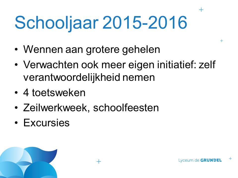 Schooljaar 2015-2016 Wennen aan grotere gehelen Verwachten ook meer eigen initiatief: zelf verantwoordelijkheid nemen 4 toetsweken Zeilwerkweek, schoo