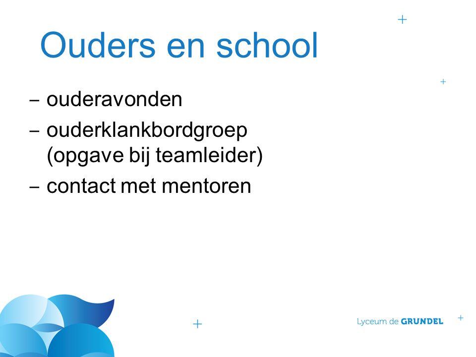 Ouders en school ‒ ouderavonden ‒ ouderklankbordgroep (opgave bij teamleider) ‒ contact met mentoren