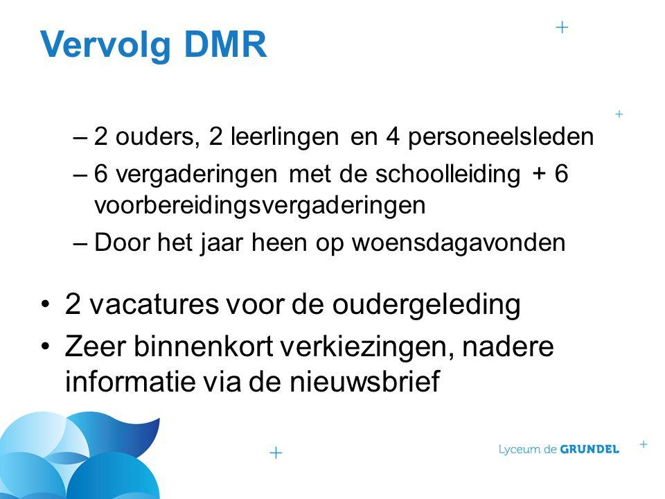 Vervolg DMR –2 ouders, 2 leerlingen en 4 personeelsleden –6 vergaderingen met de schoolleiding + 6 voorbereidingsvergaderingen –Door het jaar heen op