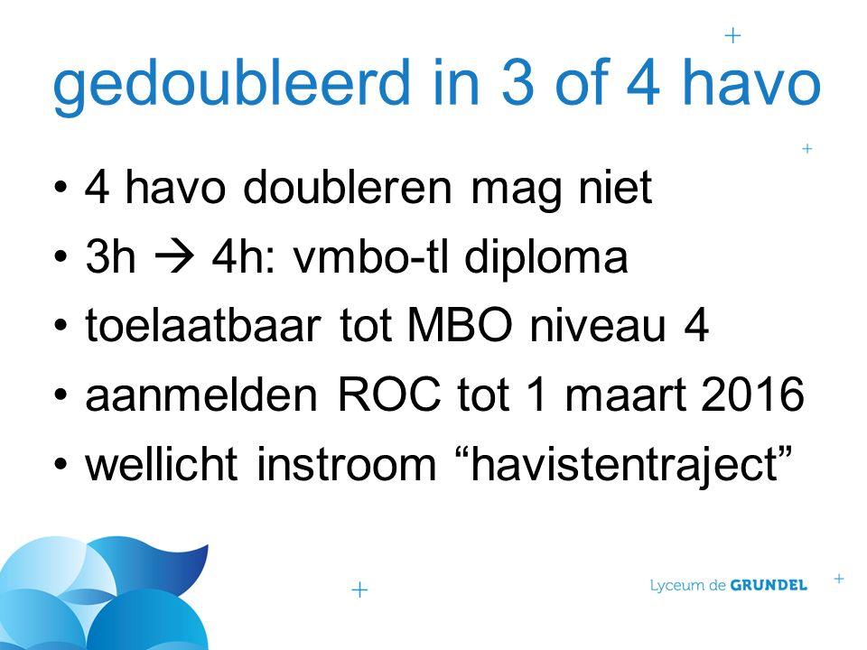 gedoubleerd in 3 of 4 havo 4 havo doubleren mag niet 3h  4h: vmbo-tl diploma toelaatbaar tot MBO niveau 4 aanmelden ROC tot 1 maart 2016 wellicht ins