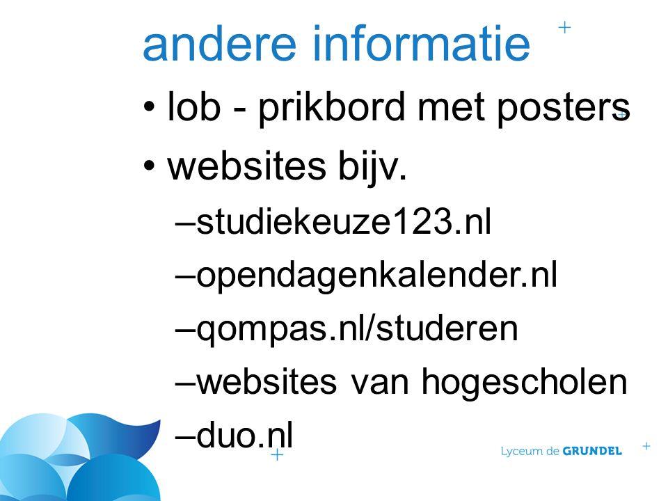 andere informatie lob - prikbord met posters websites bijv. –studiekeuze123.nl –opendagenkalender.nl –qompas.nl/studeren –websites van hogescholen –du