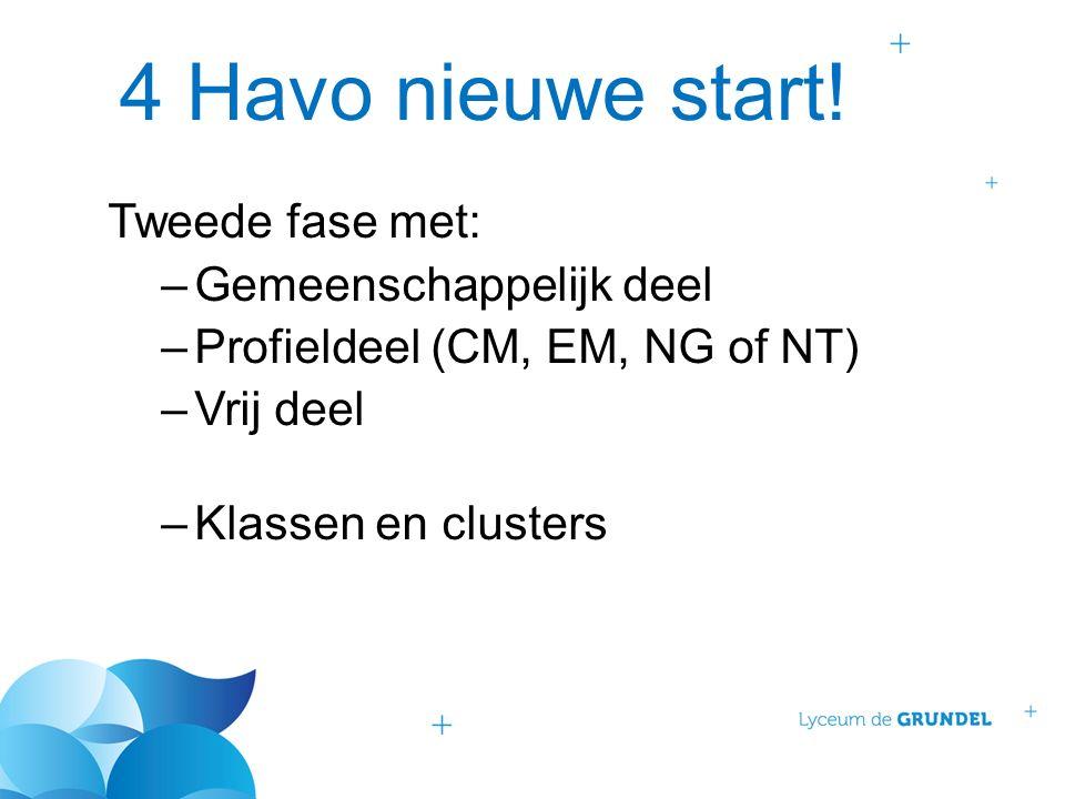 4 Havo nieuwe start! Tweede fase met: –Gemeenschappelijk deel –Profieldeel (CM, EM, NG of NT) –Vrij deel –Klassen en clusters