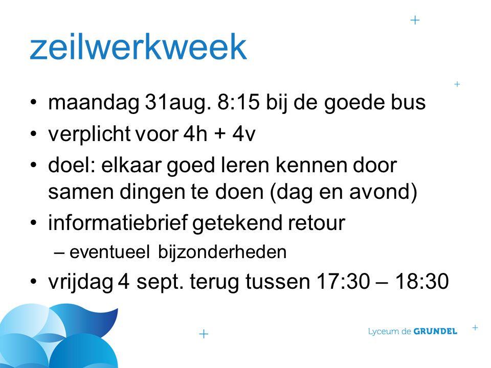 zeilwerkweek maandag 31aug. 8:15 bij de goede bus verplicht voor 4h + 4v doel: elkaar goed leren kennen door samen dingen te doen (dag en avond) infor