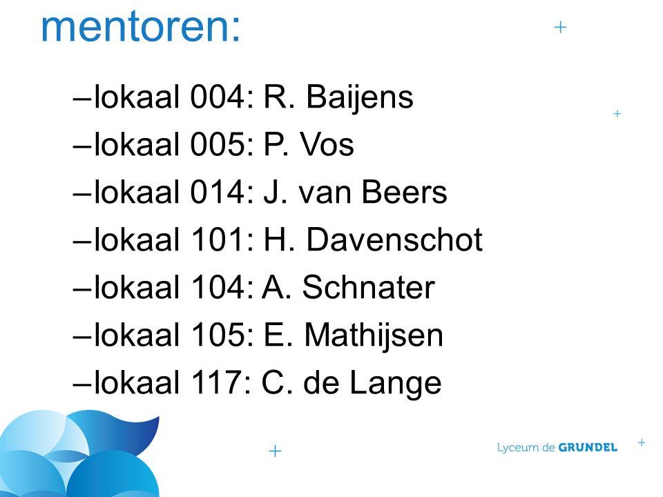 mentoren: –lokaal 004: R. Baijens –lokaal 005: P. Vos –lokaal 014: J. van Beers –lokaal 101: H. Davenschot –lokaal 104: A. Schnater –lokaal 105: E. Ma