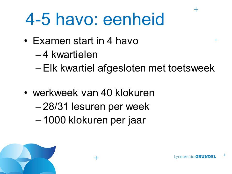4-5 havo: eenheid Examen start in 4 havo –4 kwartielen –Elk kwartiel afgesloten met toetsweek werkweek van 40 klokuren –28/31 lesuren per week –1000 k