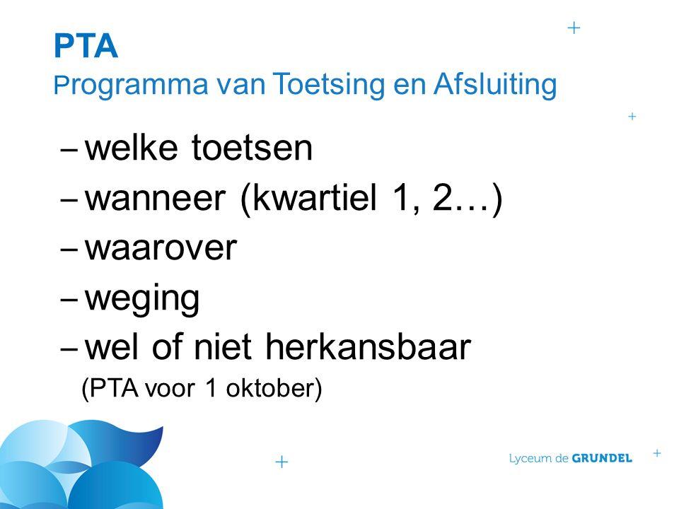 PTA P rogramma van Toetsing en Afsluiting ‒ welke toetsen ‒ wanneer (kwartiel 1, 2…) ‒ waarover ‒ weging ‒ wel of niet herkansbaar (PTA voor 1 oktober