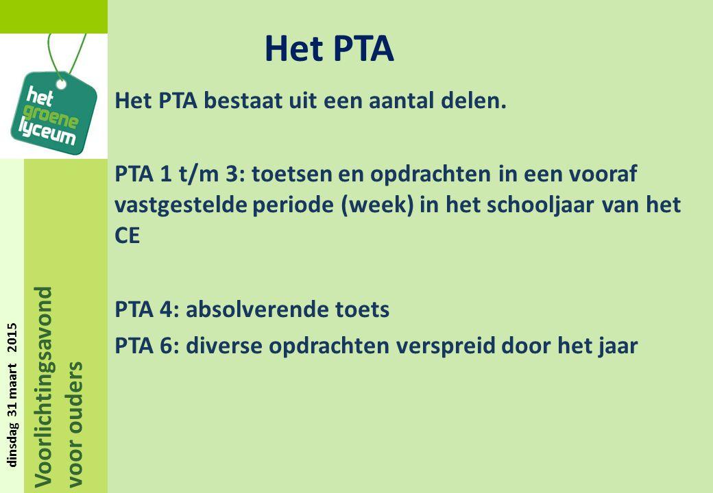 Voorlichtingsavond voor ouders dinsdag 31 maart 2015 Het PTA bestaat uit een aantal delen.