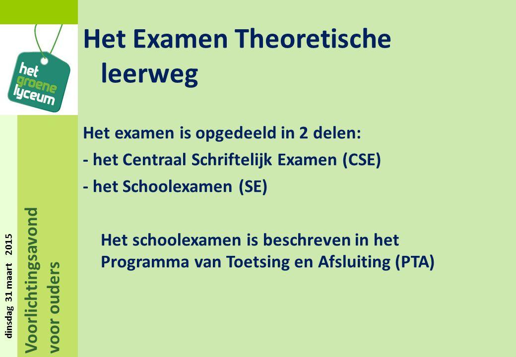 Voorlichtingsavond voor ouders dinsdag 31 maart 2015 Het Examen Theoretische leerweg Het examen is opgedeeld in 2 delen: - het Centraal Schriftelijk Examen (CSE) - het Schoolexamen (SE) Het schoolexamen is beschreven in het Programma van Toetsing en Afsluiting (PTA)
