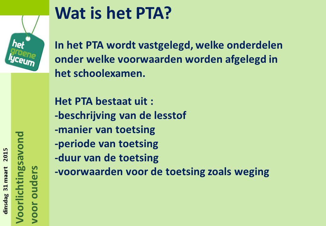 Voorlichtingsavond voor ouders dinsdag 31 maart 2015 Wat is het PTA.