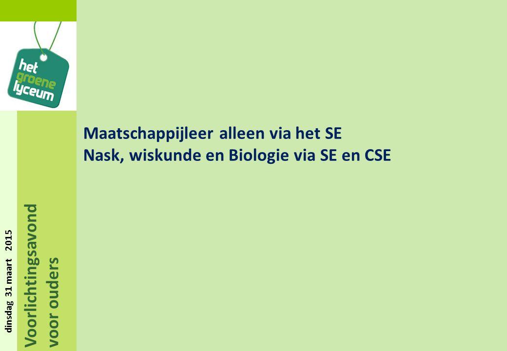 Voorlichtingsavond voor ouders dinsdag 31 maart 2015 Maatschappijleer alleen via het SE Nask, wiskunde en Biologie via SE en CSE