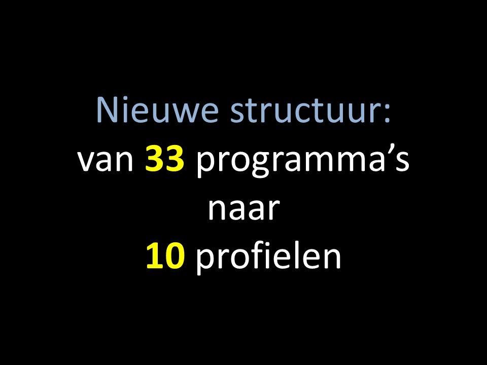 Nieuwe structuur: van 33 programma's naar 10 profielen