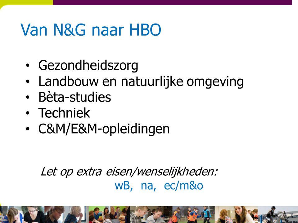 Van N&G naar HBO Gezondheidszorg Landbouw en natuurlijke omgeving Bèta-studies Techniek C&M/E&M-opleidingen Let op extra eisen/wenselijkheden: wB, na, ec/m&o