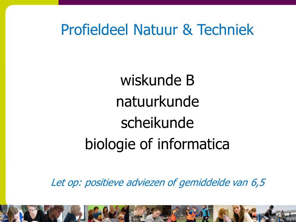 Profieldeel Natuur & Techniek wiskunde B natuurkunde scheikunde biologie of informatica Let op: positieve adviezen of gemiddelde van 6,5