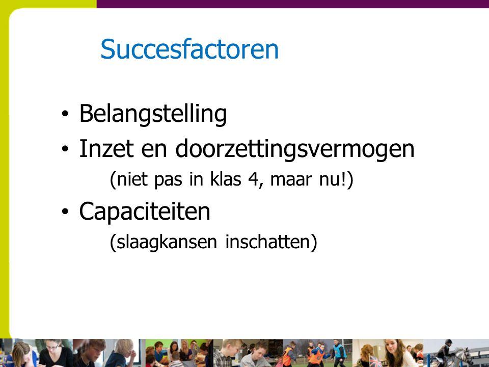 Succesfactoren Belangstelling Inzet en doorzettingsvermogen (niet pas in klas 4, maar nu!) Capaciteiten (slaagkansen inschatten)
