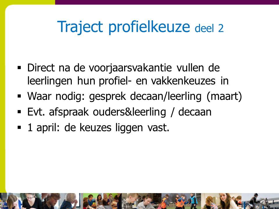 Traject profielkeuze deel 2  Direct na de voorjaarsvakantie vullen de leerlingen hun profiel- en vakkenkeuzes in  Waar nodig: gesprek decaan/leerling (maart)  Evt.