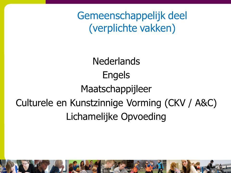 Gemeenschappelijk deel (verplichte vakken) Nederlands Engels Maatschappijleer Culturele en Kunstzinnige Vorming (CKV / A&C) Lichamelijke Opvoeding