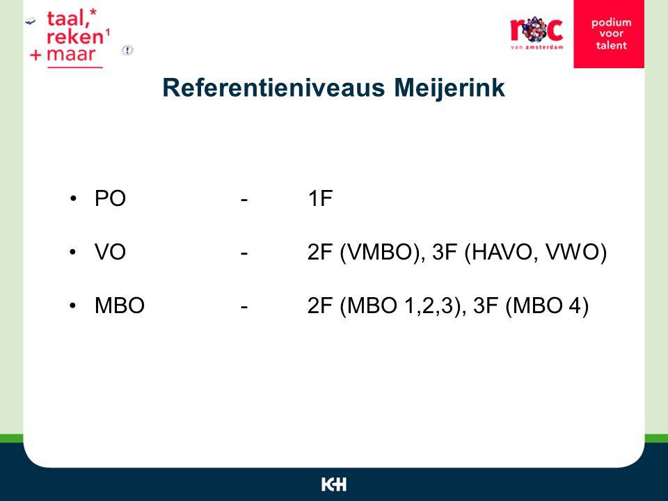 Referentieniveaus Meijerink PO-1F VO-2F (VMBO), 3F (HAVO, VWO) MBO - 2F (MBO 1,2,3), 3F (MBO 4)