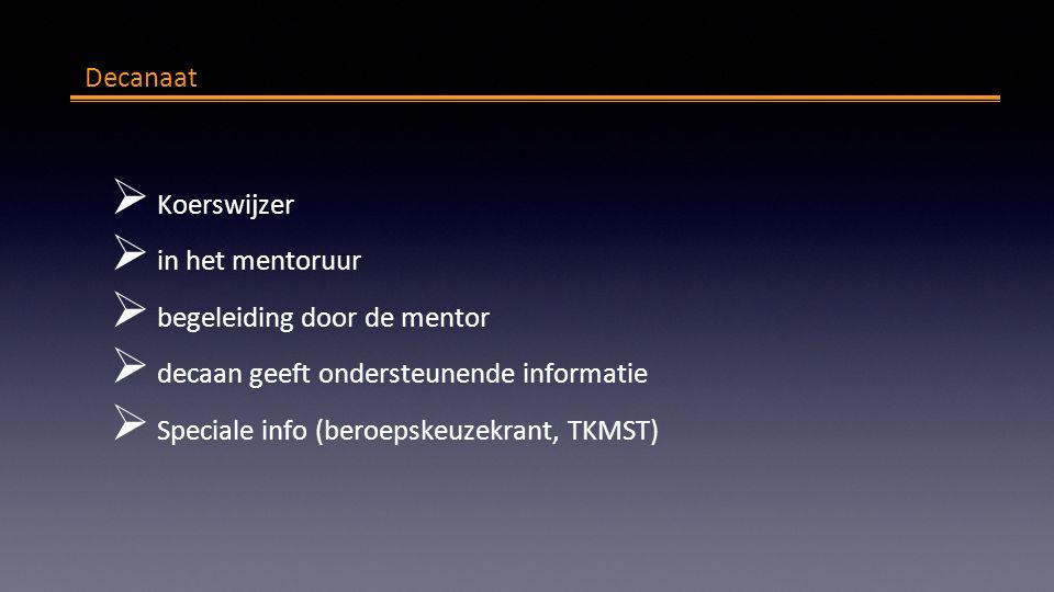 Decanaat  Koerswijzer  in het mentoruur  begeleiding door de mentor  decaan geeft ondersteunende informatie  Speciale info (beroepskeuzekrant, TKMST)