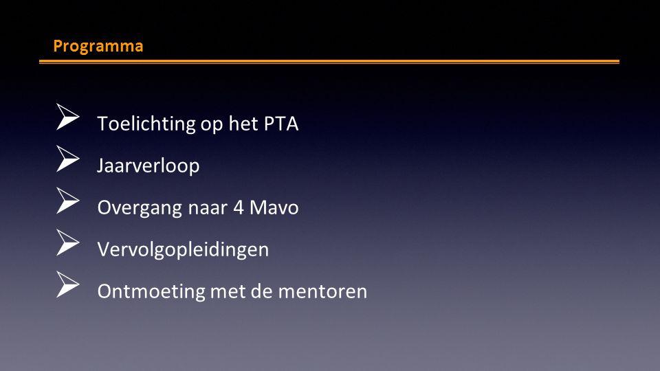 mv Programma  Toelichting op het PTA  Jaarverloop  Overgang naar 4 Mavo  Vervolgopleidingen  Ontmoeting met de mentoren