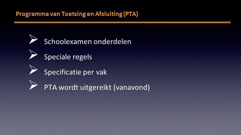 PTA Programma van Toetsing en Afsluiting (PTA)  Schoolexamen onderdelen  Speciale regels  Specificatie per vak  PTA wordt uitgereikt (vanavond)
