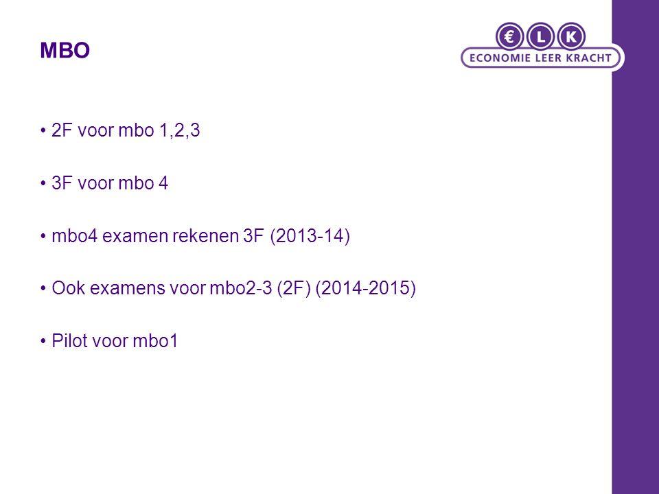 MBO 2F voor mbo 1,2,3 3F voor mbo 4 mbo4 examen rekenen 3F (2013-14) Ook examens voor mbo2-3 (2F) (2014-2015) Pilot voor mbo1