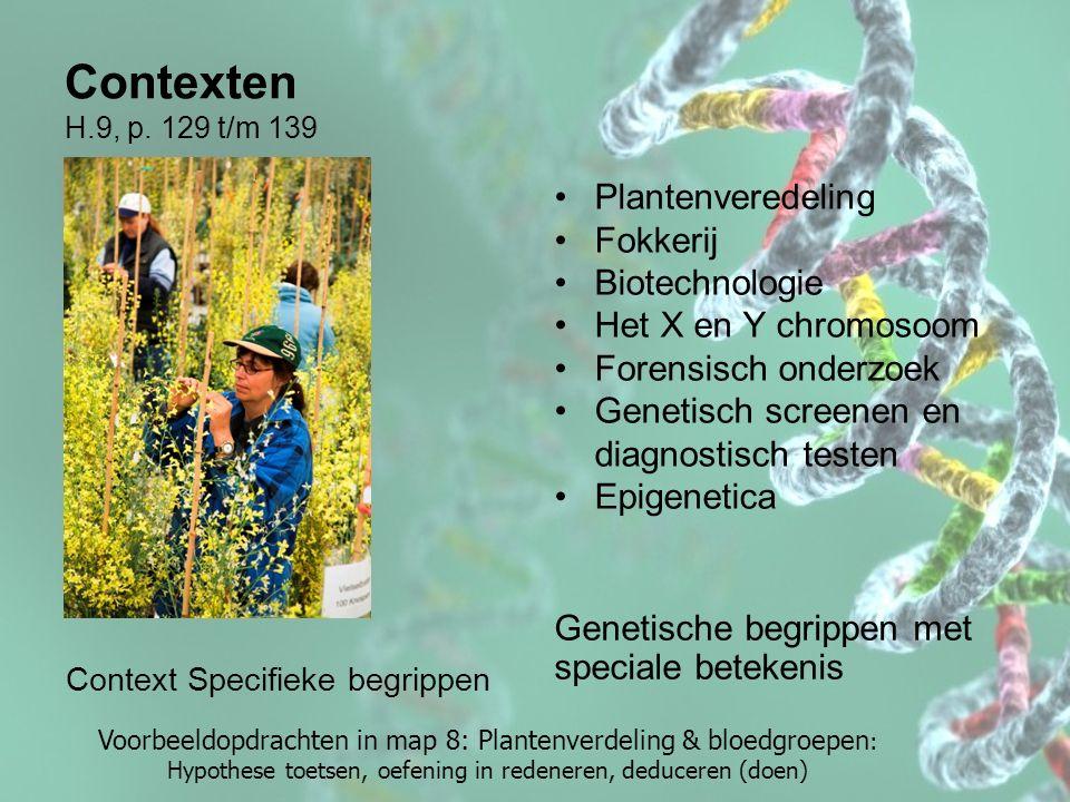 Contexten H.9, p. 129 t/m 139 Context Specifieke begrippen Genetische begrippen met speciale betekenis Plantenveredeling Fokkerij Biotechnologie Het X