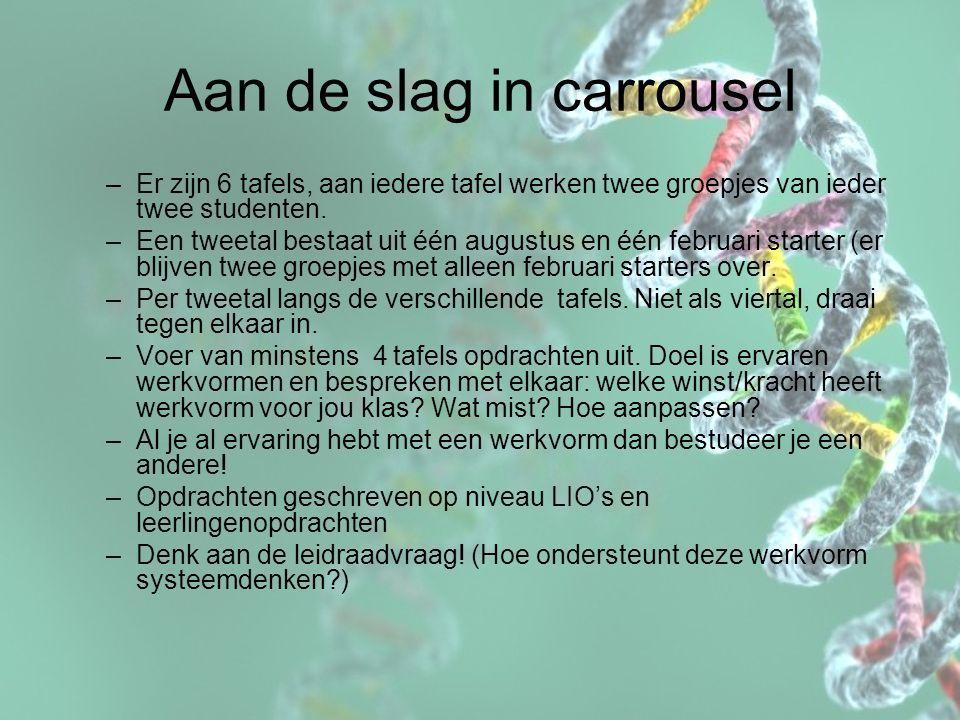 Aan de slag in carrousel –Er zijn 6 tafels, aan iedere tafel werken twee groepjes van ieder twee studenten. –Een tweetal bestaat uit één augustus en é