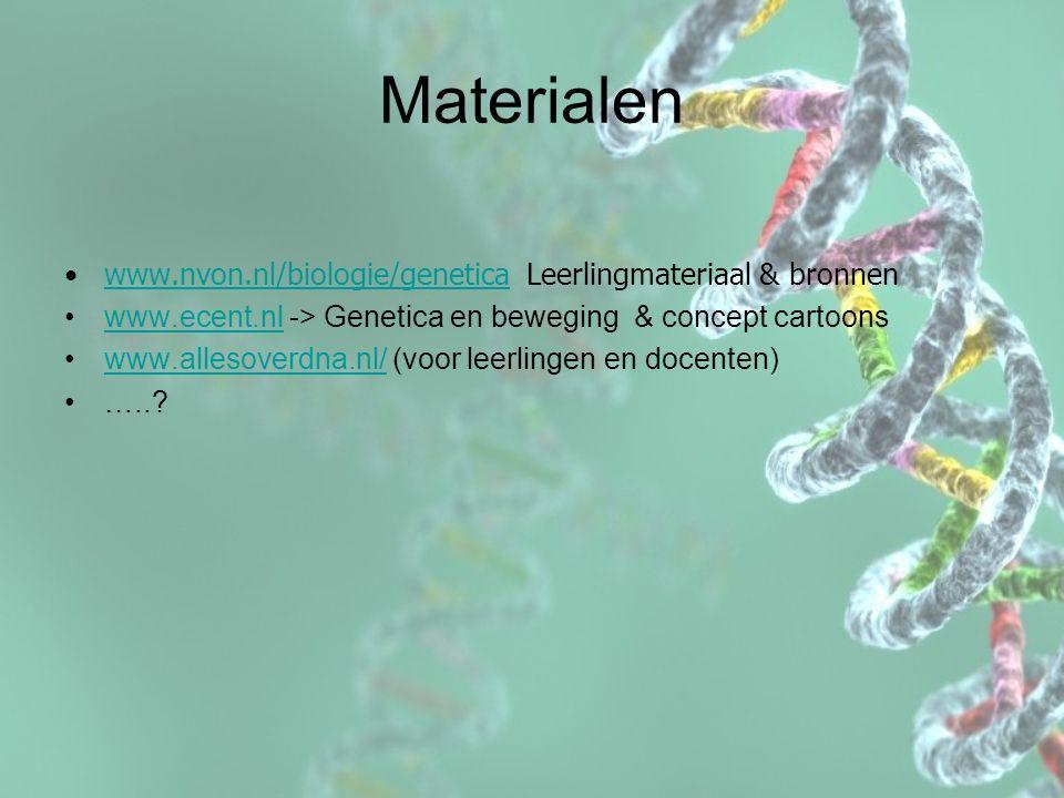 Materialen www.nvon.nl/biologie/genetica Leerlingmateriaal & bronnenwww.nvon.nl/biologie/genetica www.ecent.nl -> Genetica en beweging & concept carto