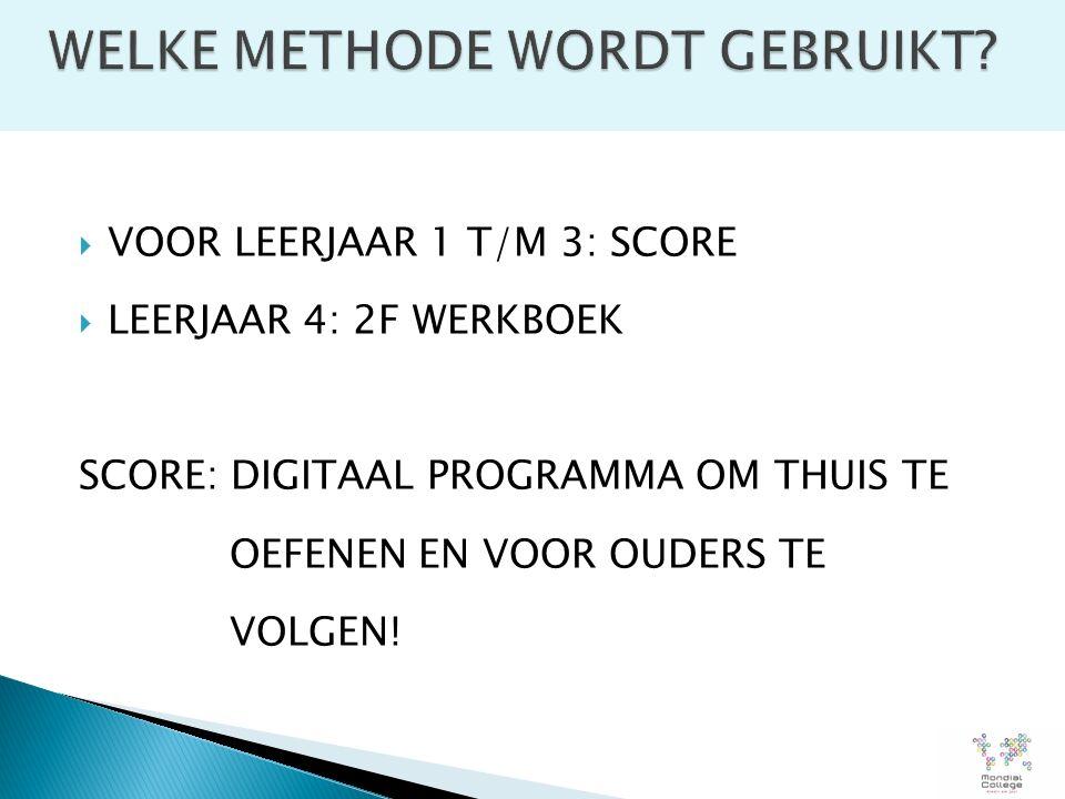  VOOR LEERJAAR 1 T/M 3: SCORE  LEERJAAR 4: 2F WERKBOEK SCORE: DIGITAAL PROGRAMMA OM THUIS TE OEFENEN EN VOOR OUDERS TE VOLGEN!