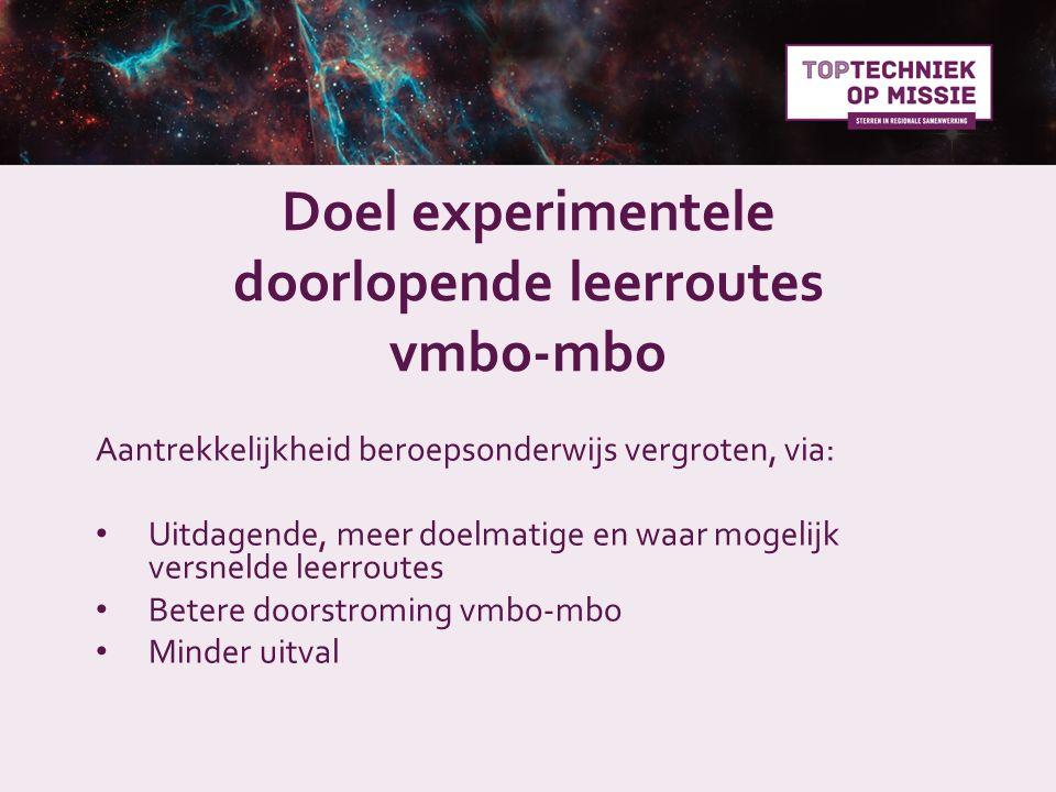 Doel experimentele doorlopende leerroutes vmbo-mbo Aantrekkelijkheid beroepsonderwijs vergroten, via: Uitdagende, meer doelmatige en waar mogelijk ver