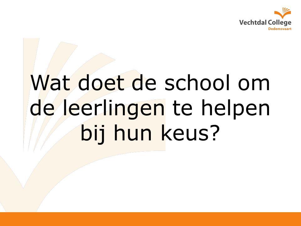 Wat doet de school om de leerlingen te helpen bij hun keus?