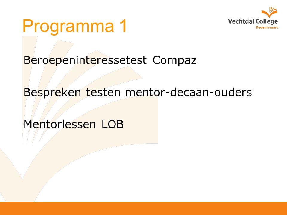 Programma 1 Beroepeninteressetest Compaz Bespreken testen mentor-decaan-ouders Mentorlessen LOB