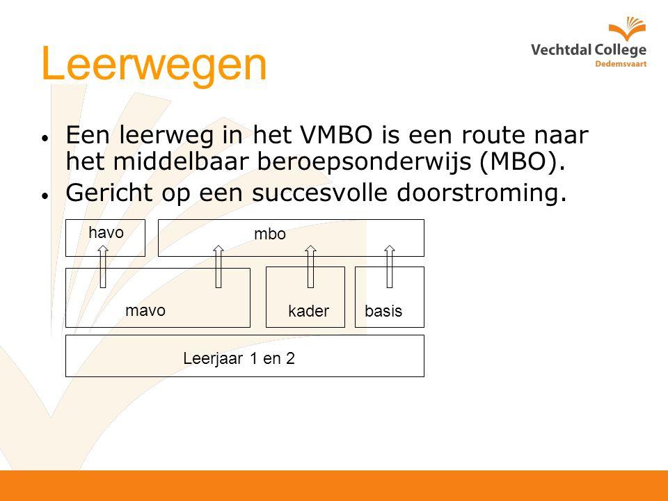 Leerwegen Een leerweg in het VMBO is een route naar het middelbaar beroepsonderwijs (MBO).