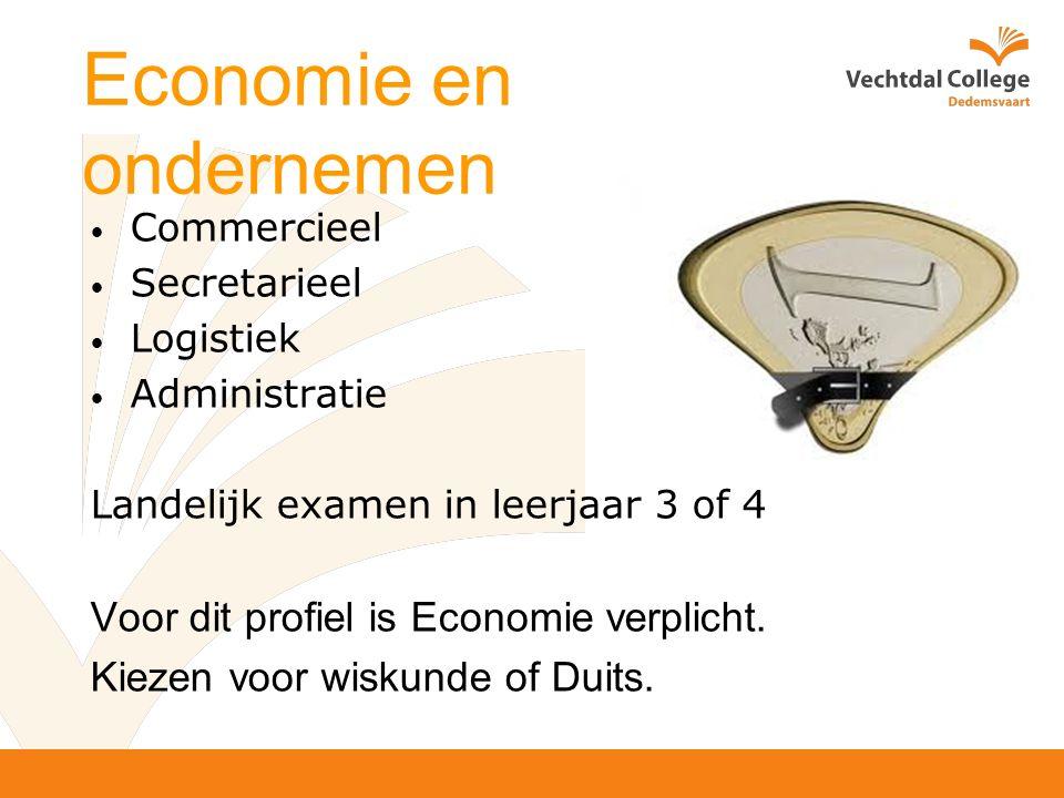 Economie en ondernemen Commercieel Secretarieel Logistiek Administratie Landelijk examen in leerjaar 3 of 4 Voor dit profiel is Economie verplicht.