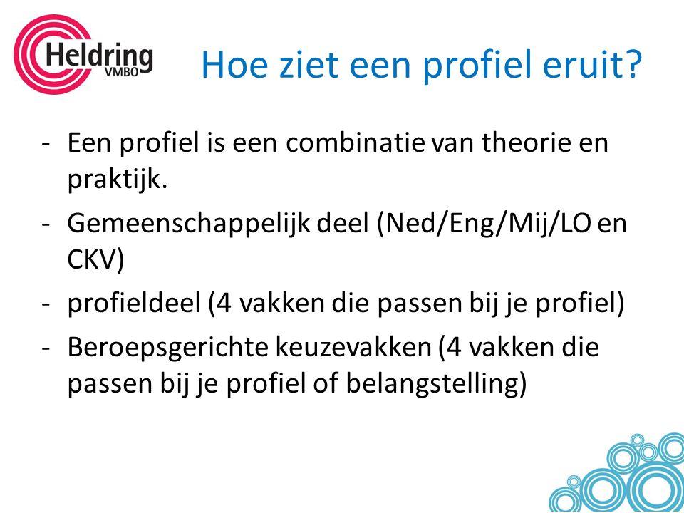 Hoe ziet een profiel eruit? -Een profiel is een combinatie van theorie en praktijk. -Gemeenschappelijk deel (Ned/Eng/Mij/LO en CKV) -profieldeel (4 va