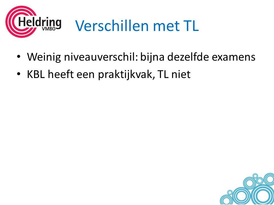 Verschillen met TL Weinig niveauverschil: bijna dezelfde examens KBL heeft een praktijkvak, TL niet
