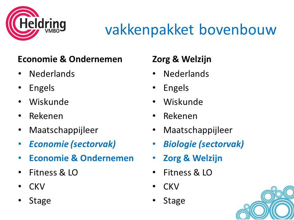vakkenpakket bovenbouw Economie & Ondernemen Nederlands Engels Wiskunde Rekenen Maatschappijleer Economie (sectorvak) Economie & Ondernemen Fitness &