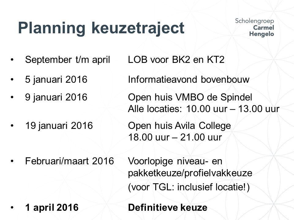 Planning keuzetraject September t/m aprilLOB voor BK2 en KT2 5 januari 2016Informatieavond bovenbouw 9 januari 2016Open huis VMBO de Spindel Alle locaties: 10.00 uur – 13.00 uur 19 januari 2016Open huis Avila College 18.00 uur – 21.00 uur Februari/maart 2016 Voorlopige niveau- en pakketkeuze/profielvakkeuze (voor TGL: inclusief locatie!) 1 april 2016Definitieve keuze