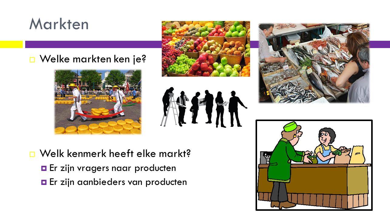 Markten  Welke markten ken je?  Welk kenmerk heeft elke markt?  Er zijn vragers naar producten  Er zijn aanbieders van producten