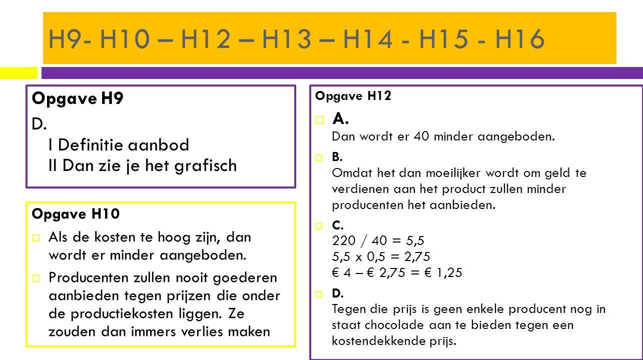 H9- H10 – H12 – H13 – H14 - H15 - H16 Opgave H9 D. I Definitie aanbod II Dan zie je het grafisch Opgave H12  A. Dan wordt er 40 minder aangeboden. 