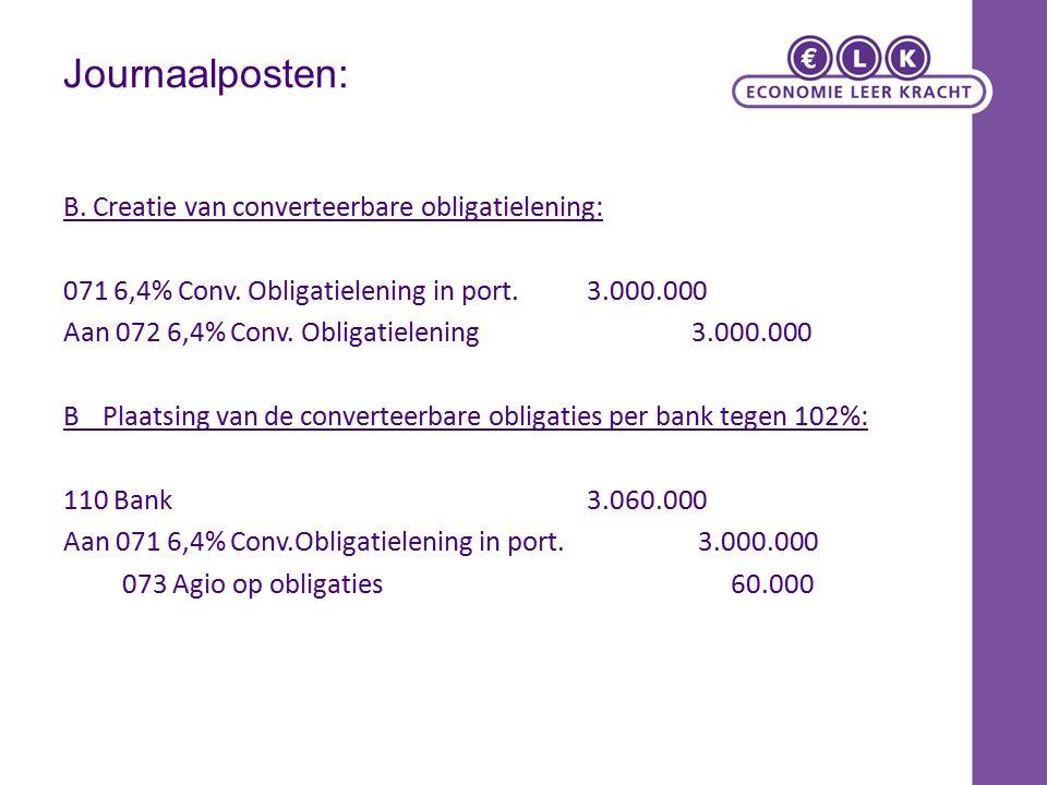 Journaalposten: B. Creatie van converteerbare obligatielening: 071 6,4% Conv. Obligatielening in port.3.000.000 Aan 072 6,4% Conv. Obligatielening3.00