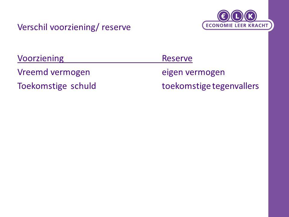 Verschil voorziening/ reserve VoorzieningReserve Vreemd vermogeneigen vermogen Toekomstige schuldtoekomstige tegenvallers