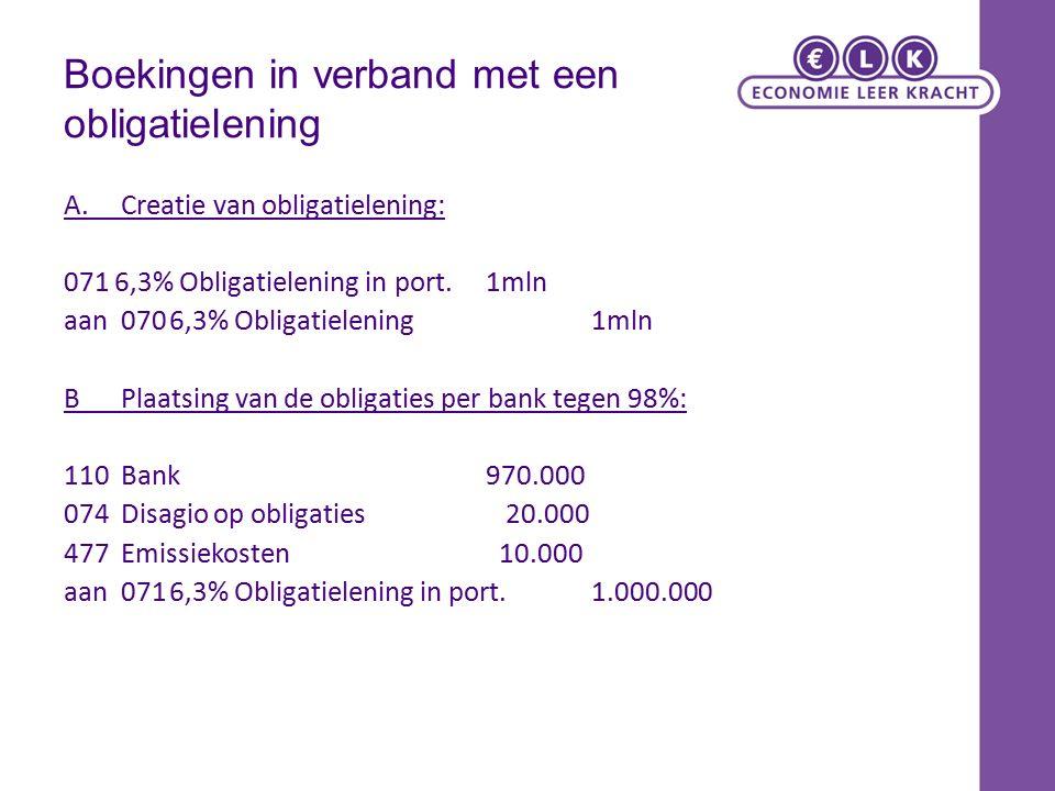 Boekingen in verband met een obligatielening A.Creatie van obligatielening: 071 6,3% Obligatielening in port.1mln aan0706,3% Obligatielening1mln BPlaatsing van de obligaties per bank tegen 98%: 110Bank970.000 074Disagio op obligaties 20.000 477 Emissiekosten 10.000 aan0716,3% Obligatielening in port.1.000.000