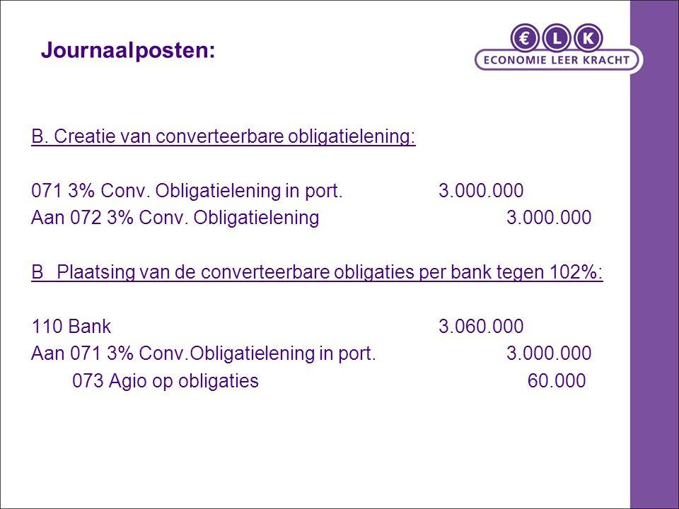Journaalposten: B. Creatie van converteerbare obligatielening: 071 3% Conv.