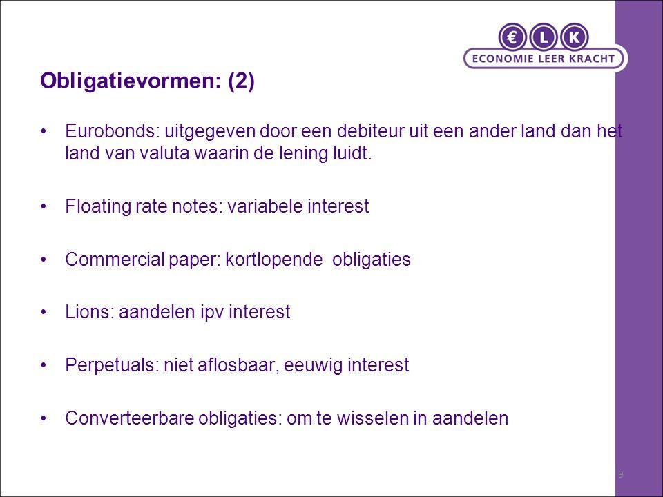 9 Obligatievormen: (2) Eurobonds: uitgegeven door een debiteur uit een ander land dan het land van valuta waarin de lening luidt.